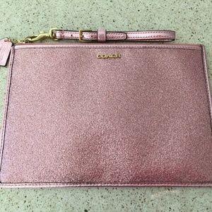 Pink COACH Glitter Wristlet